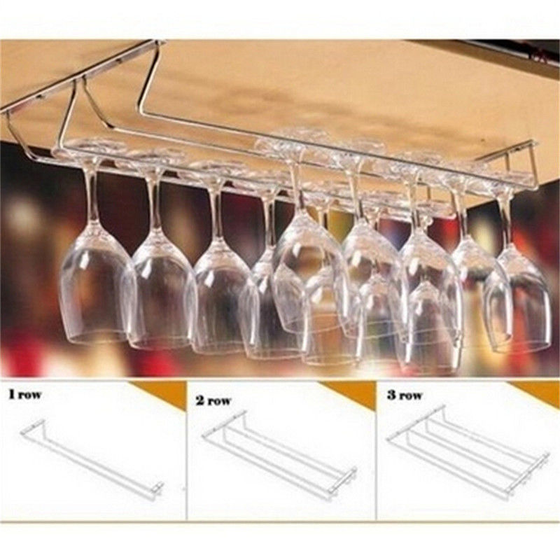 Wine Cup Wine Glass Holder Hanging Drinking Glasses Stemware Rack Under  Cabinet Storage Organizer Double Row For Household On Aliexpress.com |  Alibaba Group
