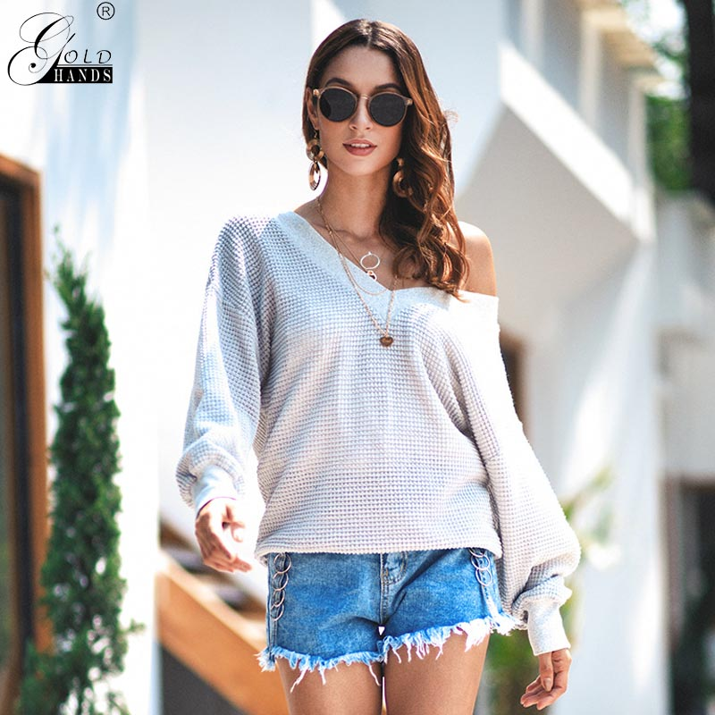 Gold Hands V Neck Women Sweaters Pullovers Knitted Autumn Winter Clothing Solid Basic Slim Pullover Female Jumper Sweater Lady