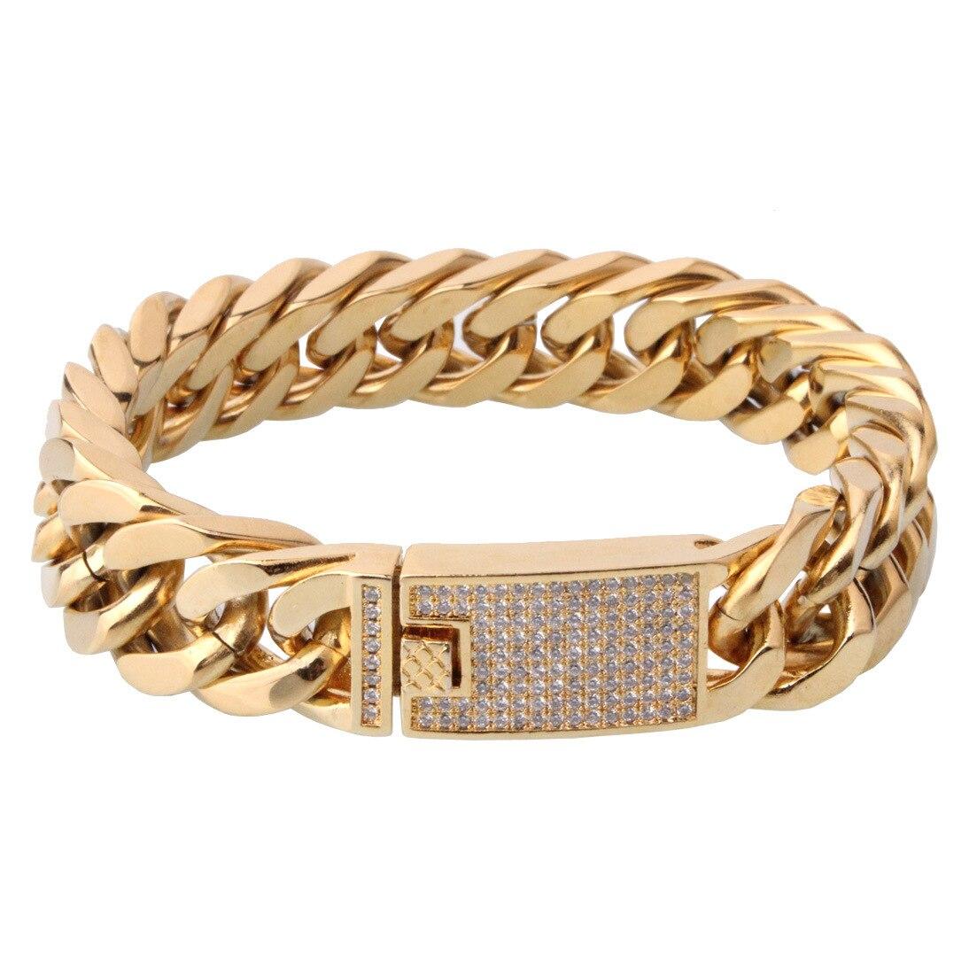 Bracelet Double boucle doré plaqué sous vide en acier inoxydable pour hommes chaîne cubaine initiale en Zircon arabe islamique personnalisée
