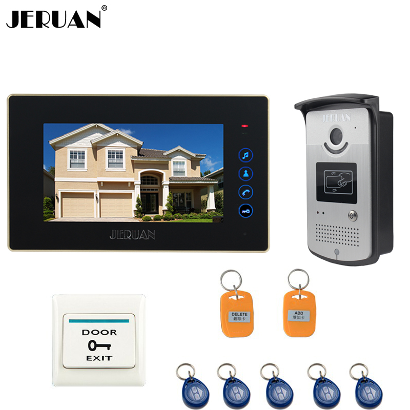 JERUAN7 inch TFT Color Video Intercom Entry Door Phone System RFID Access Doorbell IR COMS Camera 1 Touch key Monitor In Stock wired video door phone intercom doorbell system 7 tft lcd monitor screen with ir coms outdoor camera video door bell