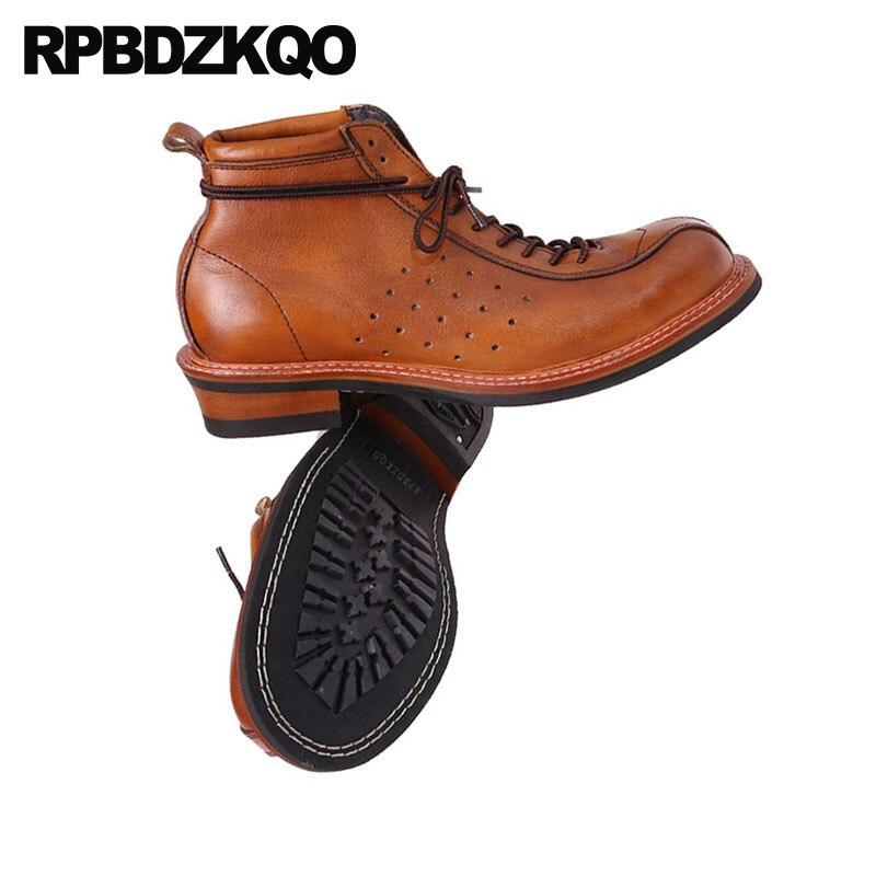 Automne Chaussons 2018 Bottes Vintage Brun Chaussures Pleine Hommes En Designer Européenne Véritable Qualité Fleur Cheville Haute Up Brown Cuir Court Dentelle qUSVpzM