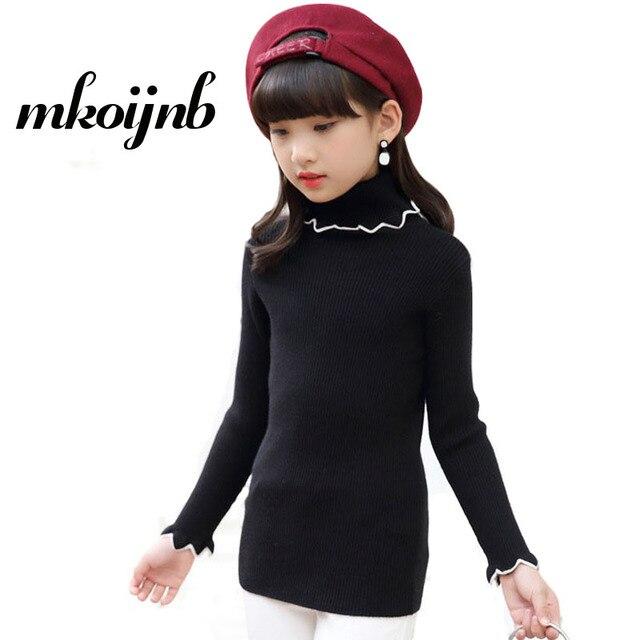 2018 Kids Girls Solid Sweaters For teens Clothing Warm Sweaters Cute  Children Turtleneck Knitwear Girls Tops