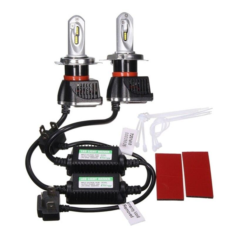 ФОТО 48W/Pair LED Chip H4 Hi-lo Beam 16LED Headlight Bulb 8000lm 12V 6000k Auto LED Front Head Lamp Lighting 9-32V