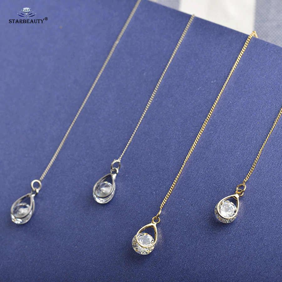 Starbeauty 2pc Long Tassel Earrings Gold Silver Color Alloy Water Drop Ear Piercing Helix Piercing Oreja Fake Earrings for Women