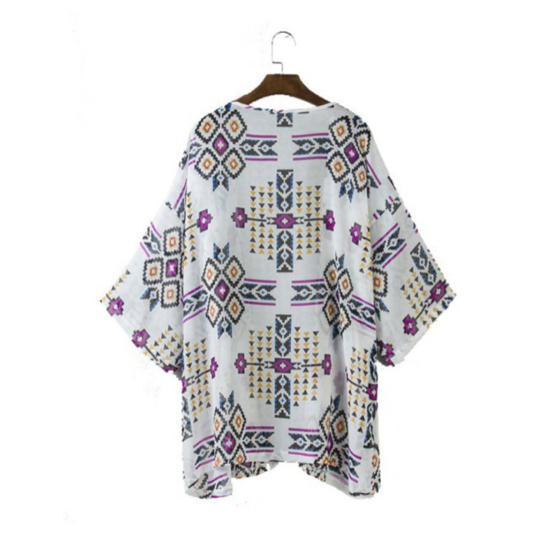 Womens Geometric Print Jacker Coat Kimono Cardigan Blouse Casual Tops