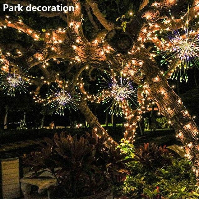 Lamp Firework Solar Power LED String Copper Wire Fairy Lights Xmas Party Decor Lamps Lighting Shine Energy Saving Night Lights
