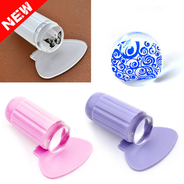 Hot Sale!! Clear Jelly Sticky Nail Art Stamper Silicone Marshmallow NailS Stamper Scraper Stamp Tool