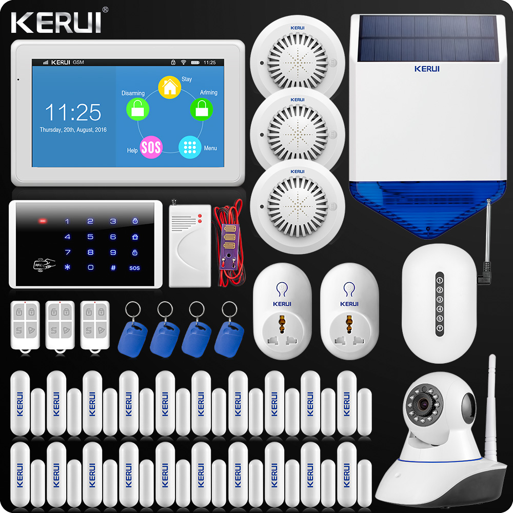 все цены на Upgraded KERUI Touch-Screen 7 Inch TFT Color Display WIFI GSM Alarm System Home Alarm Security Wifi IP Camera Solar Siren