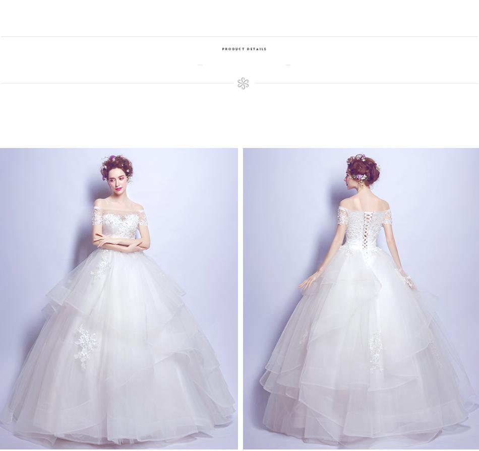 Angel Wedding Dress Marriage Bride Bridal Gown Vestido De Noiva 2017 Boat Neck Nail, lace, 2129 13