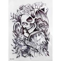 1 Pc mode hommes vieux horloge mort crâne Punk Rose temporaire tatouages autocollants cool garçons corps bras manches adhésif faux tatouage
