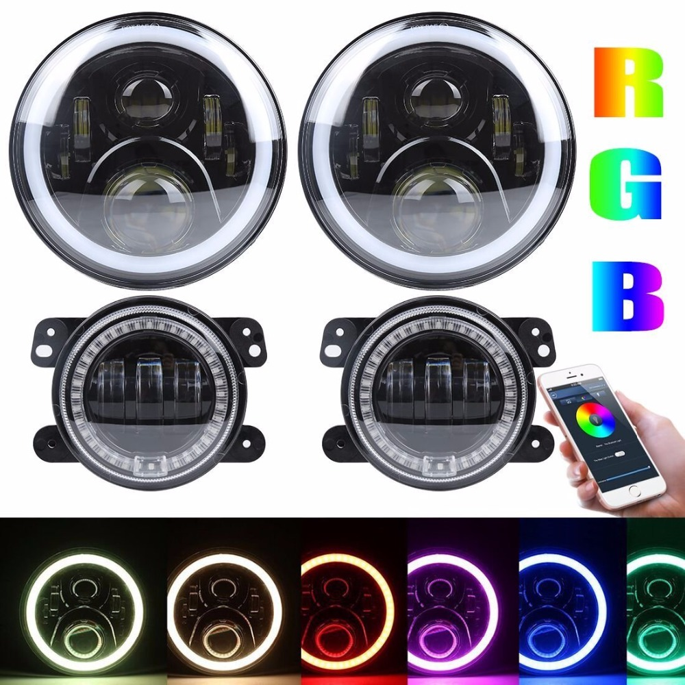 Bluetooth Controlled magic RGB car headlight 7'' RGB led Headlight + 4 inch fog lamp RGB halo DRL For Jeep Wrangler JK TJ FJ