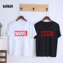 LUSLOS MARVEL T Shirt Superheros fashion White Black Tshirt Women Summer Casual