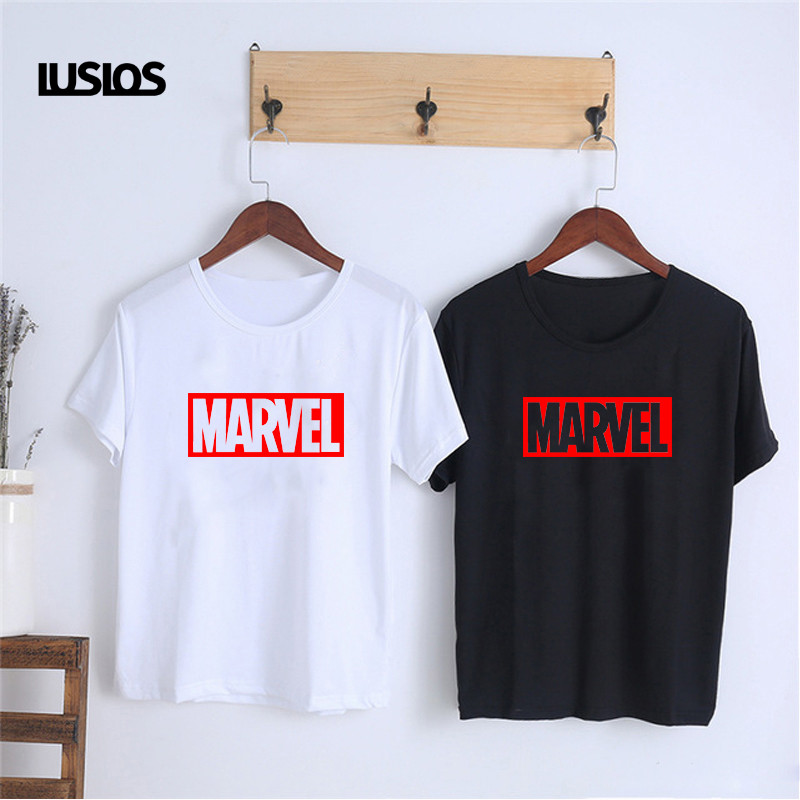 LUSLOS MARVEL   T     Shirt   Superheros Spider-Man White Black Tshirt Women Summer Casual Short Sleeve O-neck Fashion Slogan   T  -  shirts