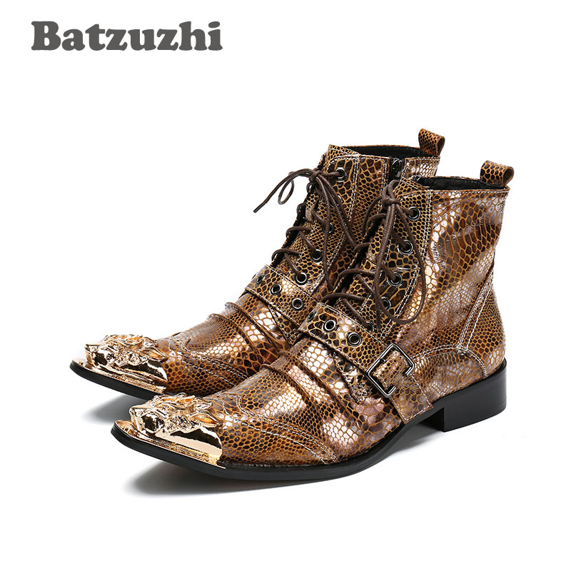 Batzuzhi New Arrival Men's Ankle Boots Golden Snake Pattern Leather Short Boots Men with Golden Toe Motocycle Boots botas hombre цены онлайн
