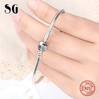 Luxury 100 925 Sterling Silver Charm Beads Chain Fit Original Bracelet Bangle For Women Authentic Jewelry