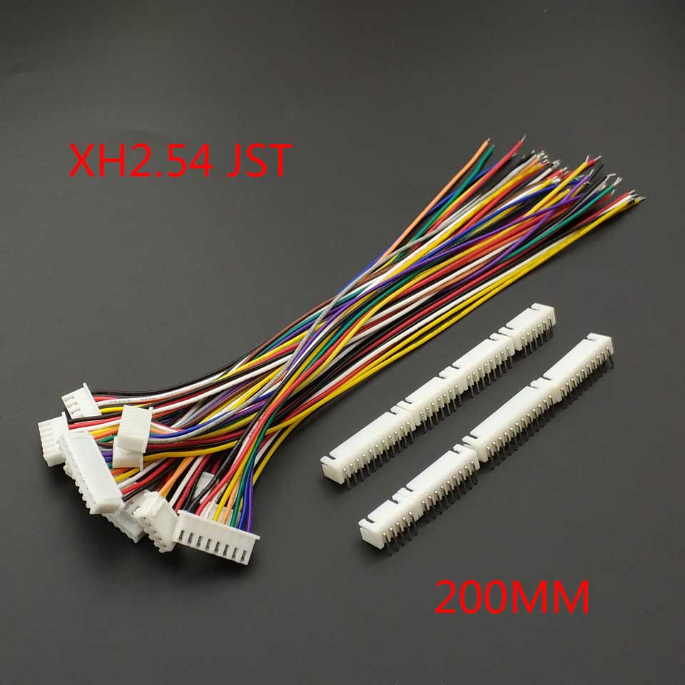 10 PCS XH 2.54 JST Connector Plug Wire Cable 20cm Long 26AWG 2/3/4/5/6/7/8/9/10/11/12P + XH 2.54 Connect Plug-in Bending Needle