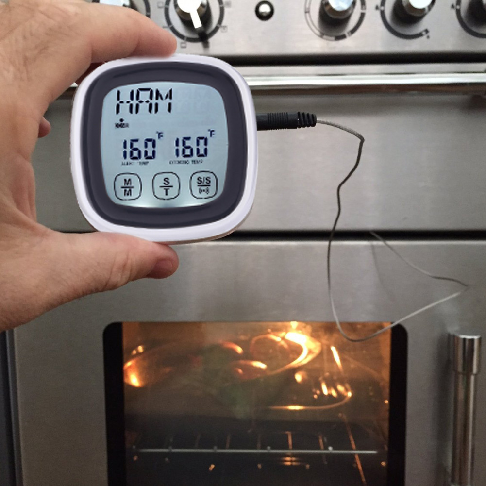 Touchscreen LCD Digital Food Thermometer Kitchen Cooking BBQ Oven Food Meat Temperature Meter Probe Tester with Alarm Timer