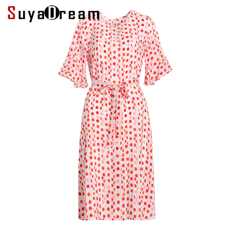 Women Belted Dress 100 Real Silk Crepe Dots Printed Knee Length Dresses Half Butterfly Sleeved Summer