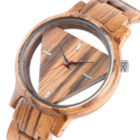 Novel Casual Trendy Gift Push Button Hidden Clasp Bamboo Wrist Watch Quartz Nature Wood Women Hollow Handmade Bangle Men