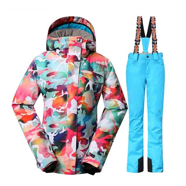 Gsou Snow women winter suits waterproof ski suit set jacket+pant snowboard  clothes snow jacket waterproof breathable plus size 8c8758303216