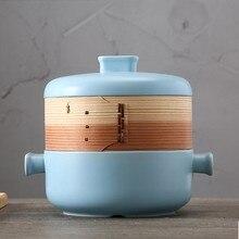 1.5l синий/розовый Керамика пароход кастрюля горшок высокая температура тушить горшок сподумен имеет крышку 22.5x20 см