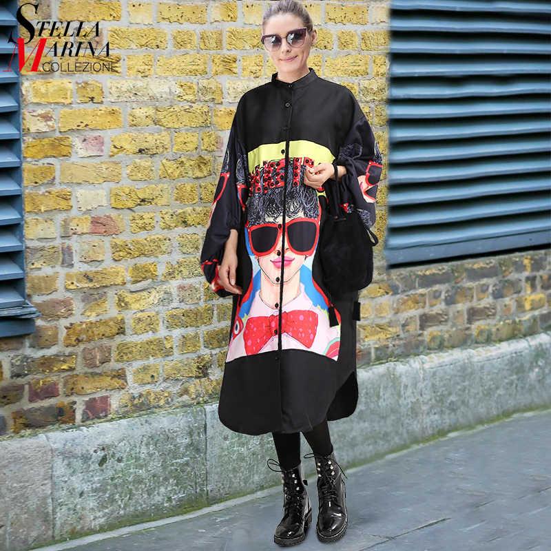 New 2018 Women Plus Size Long Black Printed Shirt Dress Lantern Sleeve Boho  Chic Style Female 8557e6e67a96