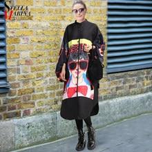 9955f8fd1f Nuevo 2018 mujeres más tamaño largo negro impreso camisa vestido linterna  manga Boho Chic estilo femenino tamaño grande vestido .