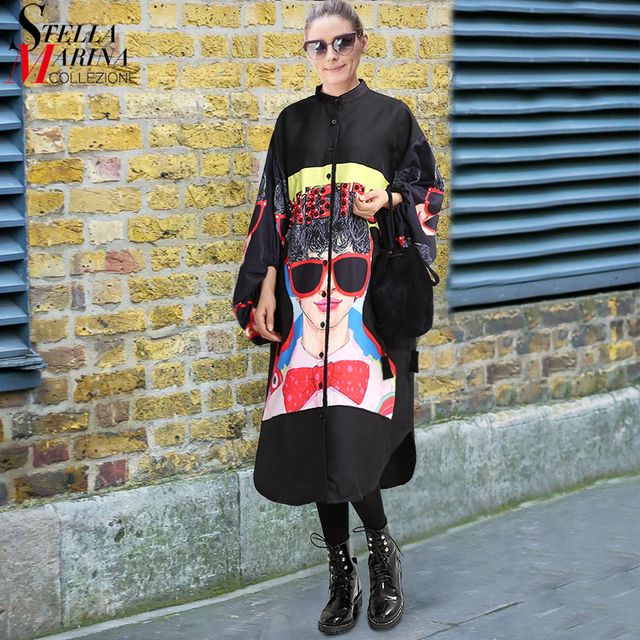New 2018 Women Plus Size Long Black Printed Shirt Dress Lantern Sleeve Boho Chic Style Female Big Size Loose Dress Vestidos 2912
