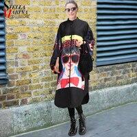 New 2018 Fashion Plus Size Women Long Black Printed Shirt Dress Lantern Sleeve Boho Chic Style
