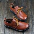 2015 Женщин Из Натуральной Кожи Плоские Туфли Толщиной Резиновая Подошва Повседневная Узелок Квартиры Мода Оксфорд Обувь (h13756)