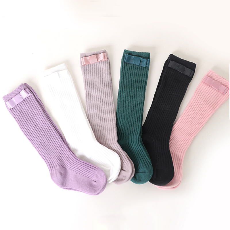 Fashion Children Socks With Bows Baby Girls Sock Knee High Cotton Toddlers Long Socks For Kids Dance Sock Infant Socken