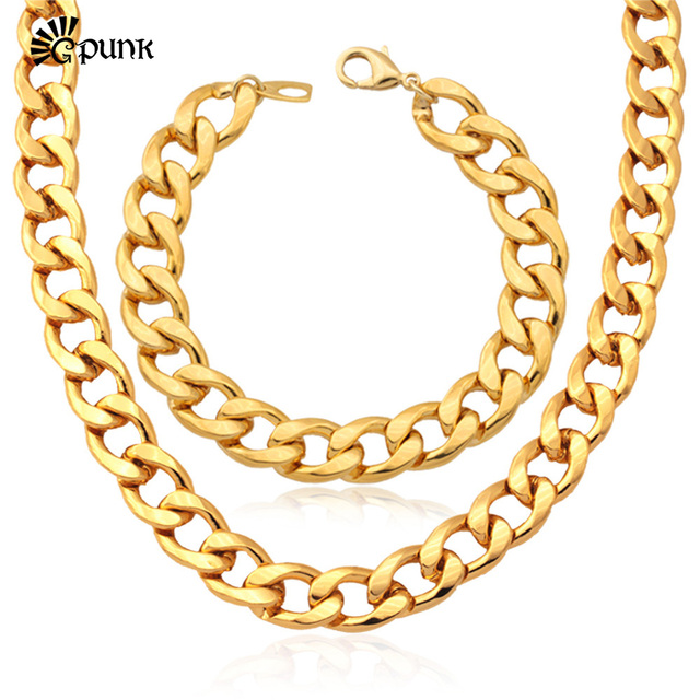 Jewelry Sets Men Necklace Bracelet Set GoldRose Gold color