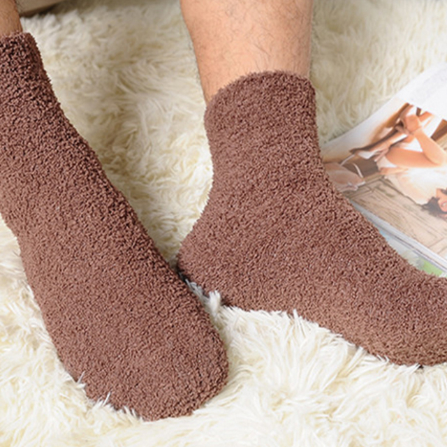 1Pair Women  Men Hot Sale Winter Thicken warm Socks Sold Color Coral Fleece Bed Sleep Non Slip Sock
