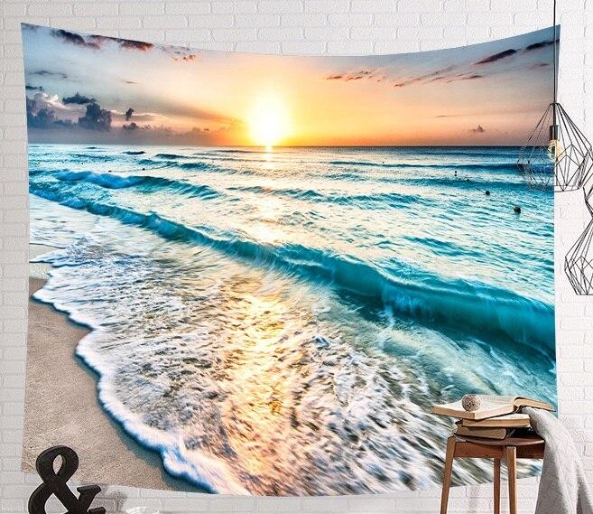 Image 5 - CAMMITEVER голубое море гобелены из слоновой кости Aubusson цветной декор с принтом Мандала Бохо стены ковер Богемия пляж тканевый коврик-in Гобелен from Дом и животные