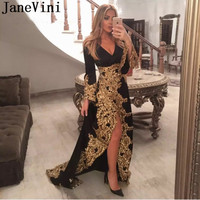 JaneVini Gold Appliques Ladies Long Evening Dresses Arabic Wear Long Sleeve Black Formal Dress Mother of the Bride Dresses 2019