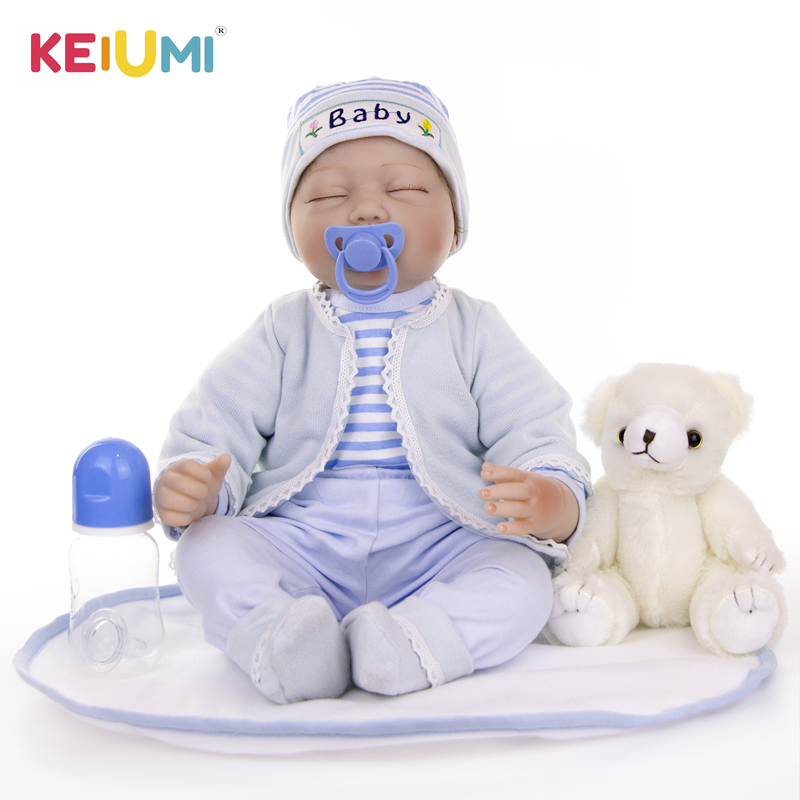 "Image 1 - KEIUMI 22"" 55cm Bebes Silicone Reborn  Baby Dolls Toys Cloth Body Boy Toddler Babies Newborn Dolls For Kids Best Playmate-in Dolls from Toys & Hobbies"