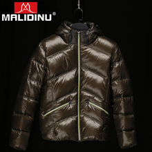 MALIDINU 2019 Men Down Jacket Winter Coat 70%White Duck Shiny Mens Casual Thick Jackets Russian