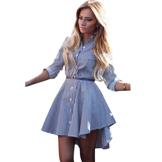 Anself Women Blue Striped Dress Long Sleeve On Down Front Asymmetrical Hemline Office Las Workwear Casual