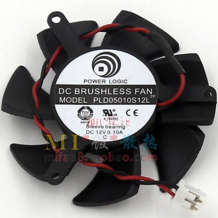 Free shiiping POWER LOGIC PLD05010S12L 2pin 12V 0.1A 46mm 39x39x39mm graphics card fan free shipping power logic pld10010s12m 12v 0 20a 95mm for gigybyte gvn550wf2 n56goc r667d3 r777oc graphics card cooling fan 2pin
