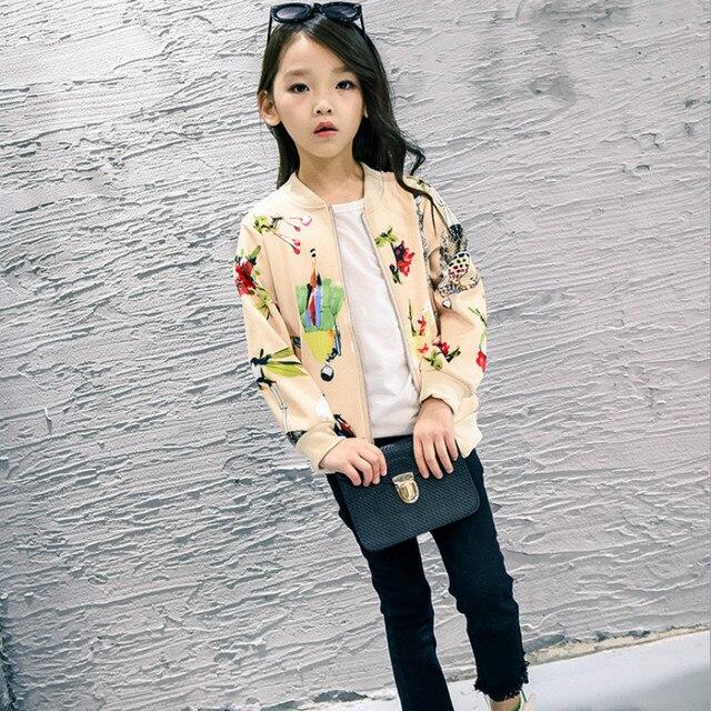 Lsk Высокое Качество Модные Девушки Весной Пальто Классический Цветочный Молния Девочка Куртка Бейсбол Одежда 2016 Новый Deisgn
