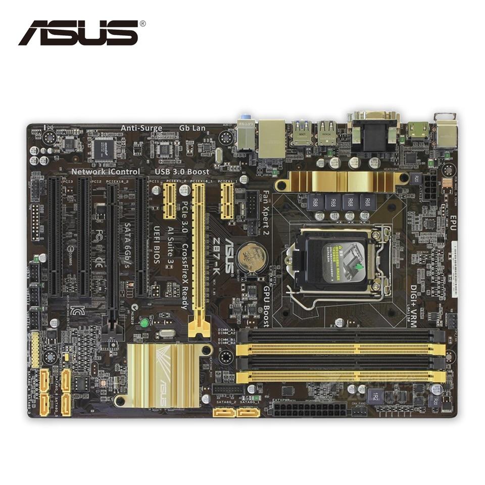 Asus Z87-K Desktop Motherboard Z87 Socket LGA 1150 i7 i5 i3 DDR3 32G SATA3 USB3.0 ATX Second-hand High Quality asus maximus vii ranger desktop motherboard m7r z97 socket lga 1150 i7 i5 i3 ddr3 32g sata3 atx second hand high quality