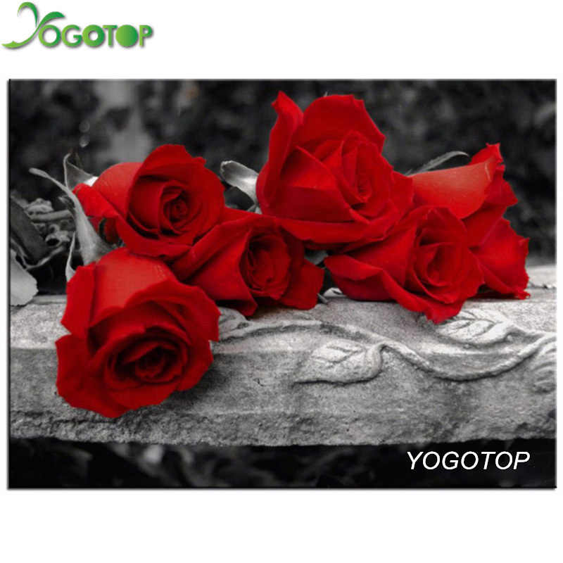YOGOTOP Diy Diamond Painting Cross Stitch Mosaic Kits Needlework Red roses Painting Square Diamond Embroidery Home Decor ZB295