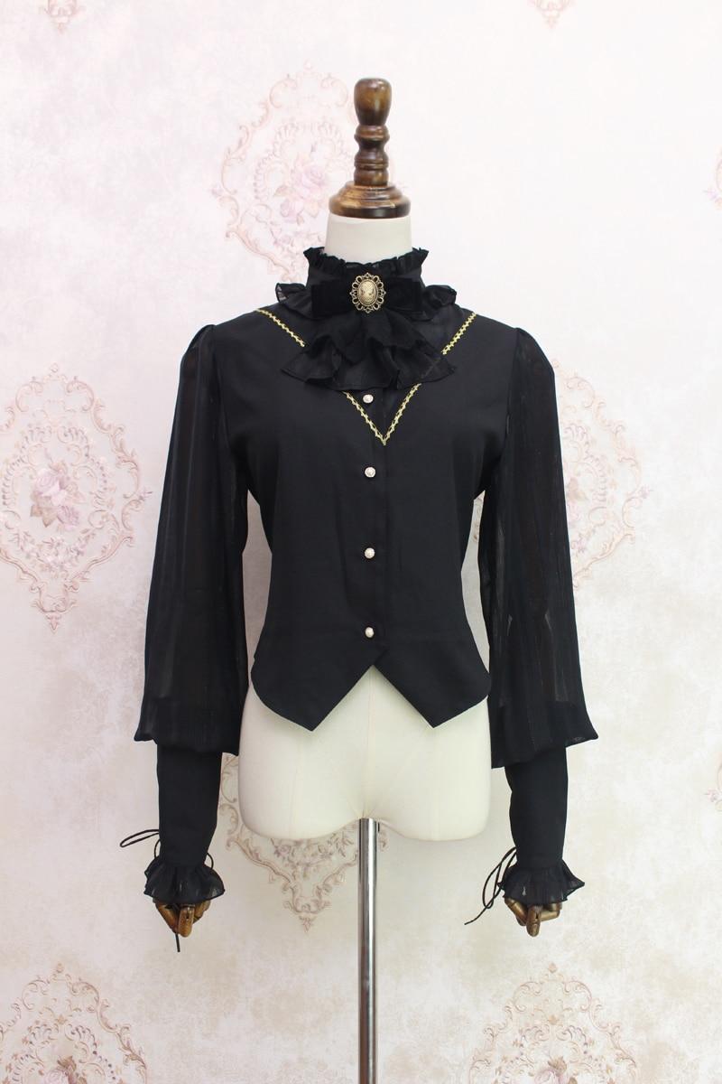 ~ blanc Manches De Style noir Blouse Steampunk Pré Par Beige commande Alice Fille Femmes Long Lanterne tZvqZ4Bw