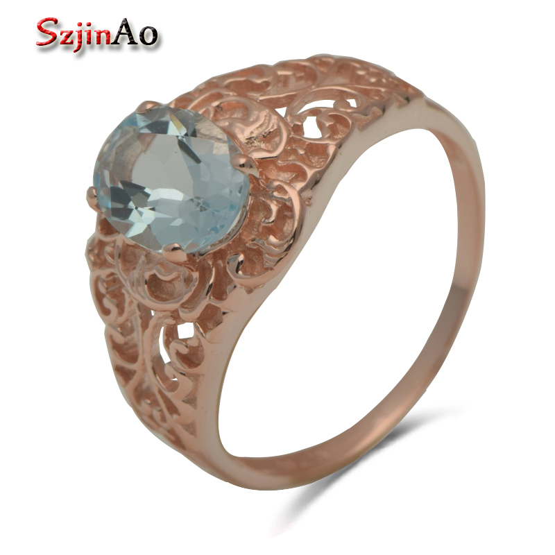 Szjinao Fashion Romantic Precious Rose Gold Blue Stone Crystal 925 Sterling Silver Rings Vintage Style Wholesale szjinao custom processing exquisite luxurious rose gold color emerald rings for women wholesale christmas gift wholesale