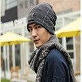 Moda Novos Homens de Inverno e Chapéu Mulher Carta NC Gorros de Malha Chapéu Protetor Auricular Gorro de Veludo de Lã Quente