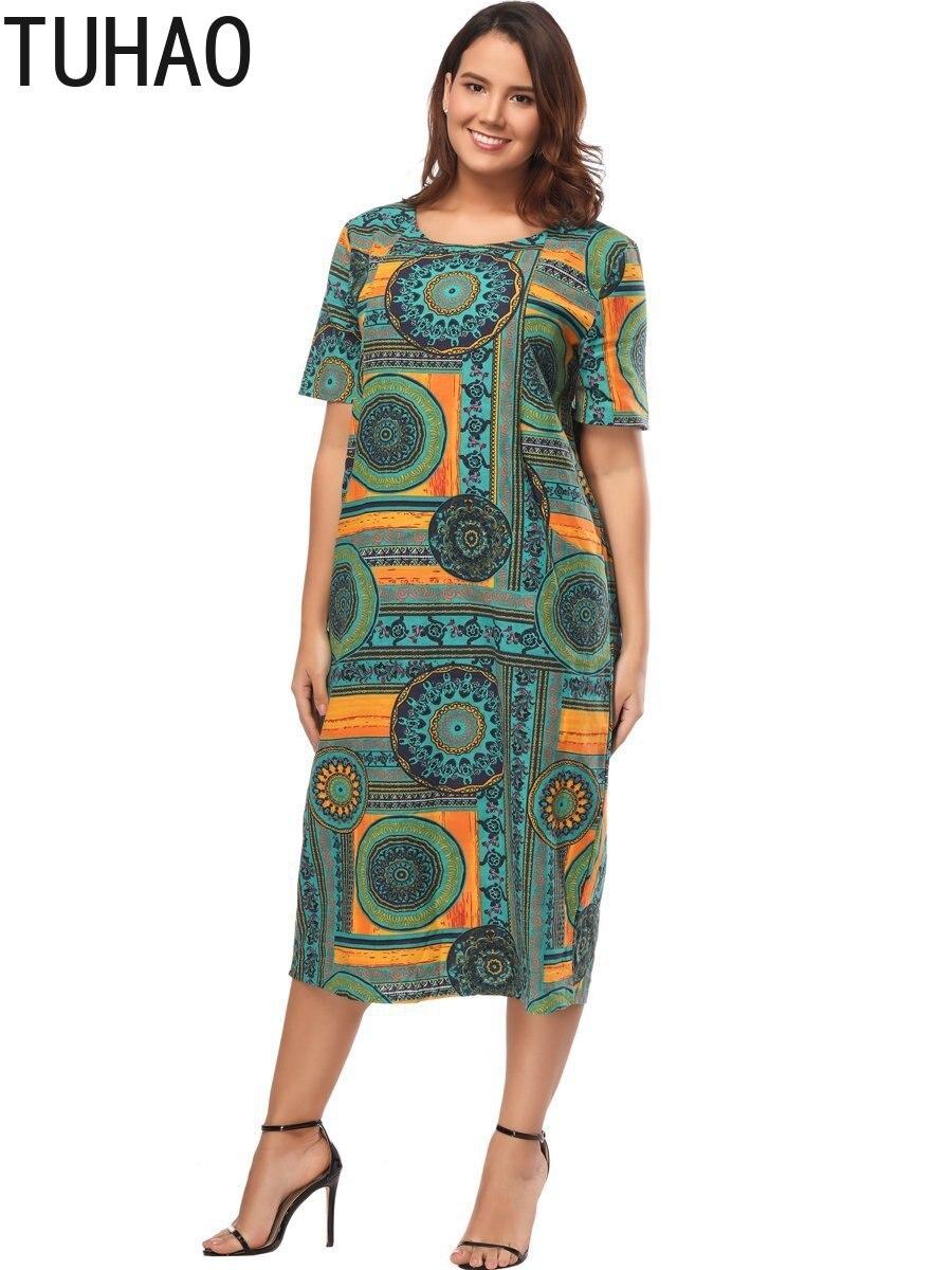 fabeb7d63c TUHAO Women Summer Vintaeg Dresses Plus Size 5XL 4XL Print Femme Lady  Elegant Retro Vestidos Oversized Loose Long Dresses HYMY-in Dresses from  Women s ...