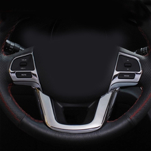 ABS Chrome trim Multi-function steering wheel sequins cover Car Accessories For Kia RIO K2 Sedan hatchback 2011-2014