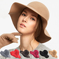 Fashion artificial wool Womens Pure Cashmere Solid Hats ladies winter warm Felt Floppy Hat for women
