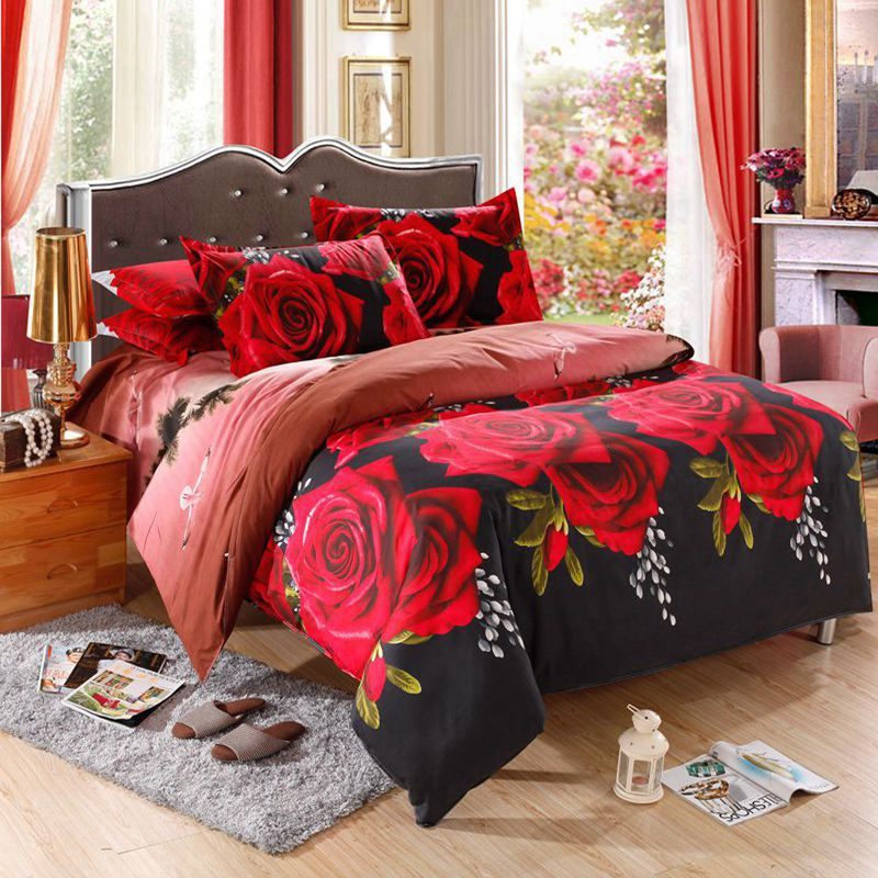 4 pcs 3D Floral Bedding Sets King Size Duvet Cover Sets Cheap Flower Bed Linen Sheets