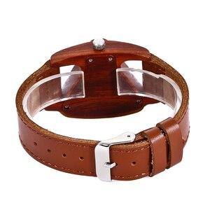 Image 5 - Women Wooden Wrist Watch Black Ladies Quartz Watches Female Bamboo Leather Wristwatch Fashion Triangle Wood Clock Dropshipping
